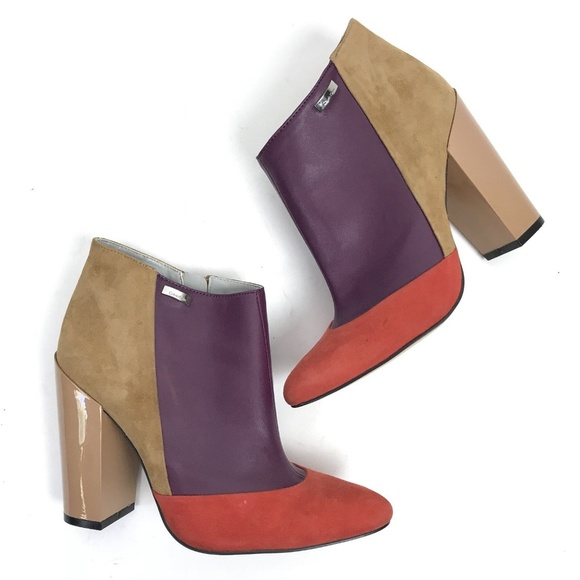Calvin Klein Aubrey Color Block Heeled Ankle Boots Calvin Klein Orange Boots Shoes